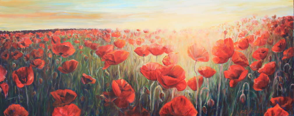 "Poppy Field at Sunset, acrylic, 36"" x 84"