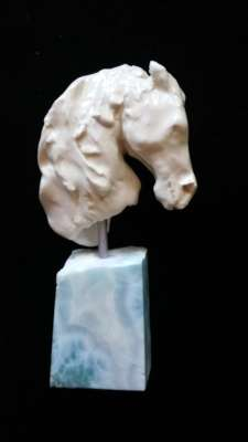 "Sea Horse, Porcelain on Larimar gemstone base, 5"", $$500.0000"