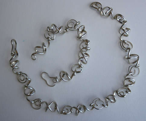 "Sterling Set Necklace and bracelet, custom, or 15"" and 8.5"", $$175.0000"
