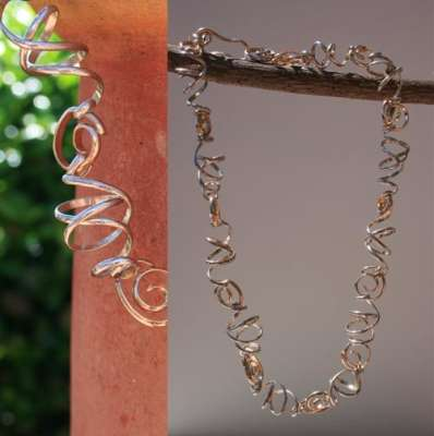 Silver and gold-filled Twists and Turns, custom, $$175.0000