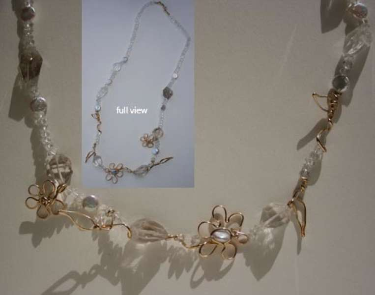 Flowers and Leaves, pearls and quartz